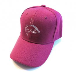 Maroon Hat with Silver and White Shark