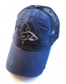 Blue Distressed Hat with Silver and White Shark