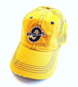 Yellow Hat Distressed with 9 Ball on the Cap