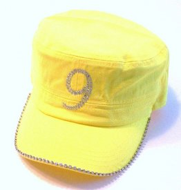 Yellow Castro Hat with Rhinestone number Nine and Silver Studded Trim on Brim