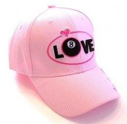 Pink Hat with LOVE, Hearts and 8 Ball